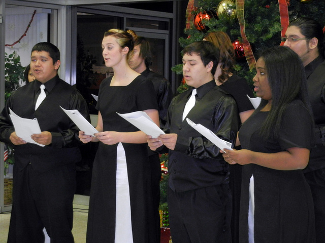 Members of the Mojave High School choir sing during the North Las Vegas Christmas tree lighting ceremony at City Hall on Wednesday, Dec. 1, 2010. This year's tree lighting event is scheduled at 5  ...