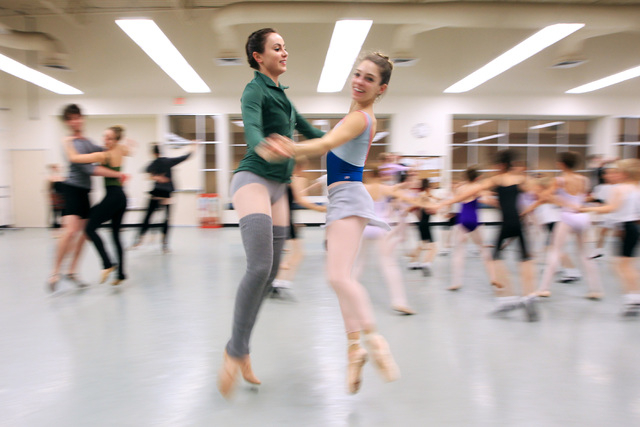 Christina Ghiardi, left, and Betsy Lucas rehearse for the Nevada Ballet Theater's 2014 production of The Nutcracker Wednesday, Dec. 3, 2014. (Sam Morris/Las Vegas Review-Journal)