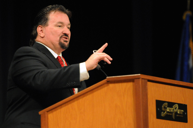 Michael McDonald, president at the Nevada Republican Party, speaks during the Nevada Republican Party convention at the South Point casino-hotel in Las Vegas Saturday, April 12, 2014. (Erik Verduz ...