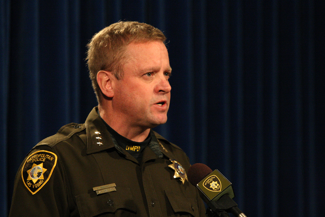 Undersheriff Kevin McMahill meets with the media to discuss the December 21, 2014 officer involved shooting which occurred at the 3200 block of Liahona Way. Monday, December 29, 2014. (Michael Qui ...
