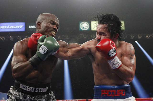 Manny Pacquiao, right, won the WBO World welterweight title from Timothy Bradley during this fight at the MGM Grand on April 12, 2014. Pacquiao successfully defended the title against Chris Algier ...
