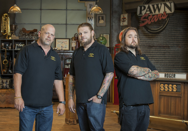 """Rick Harrison, Corey Harrison and Chumlee in """"Pawnography."""" (Courtesy, Richard Knapp/A+E Networks)"""