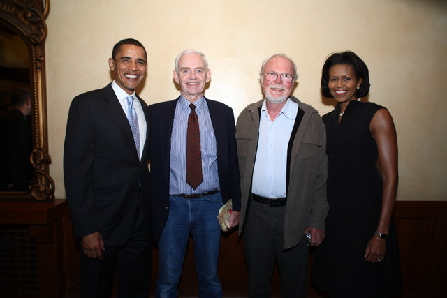 The First Couple, President Barack Obama, left, and First Lady Michelle Obama, right, flank Vietnam veterans, Phil Cushman, center left, and Lou Livingston, in 2008. (Photo courtesy of Phil Cushma ...