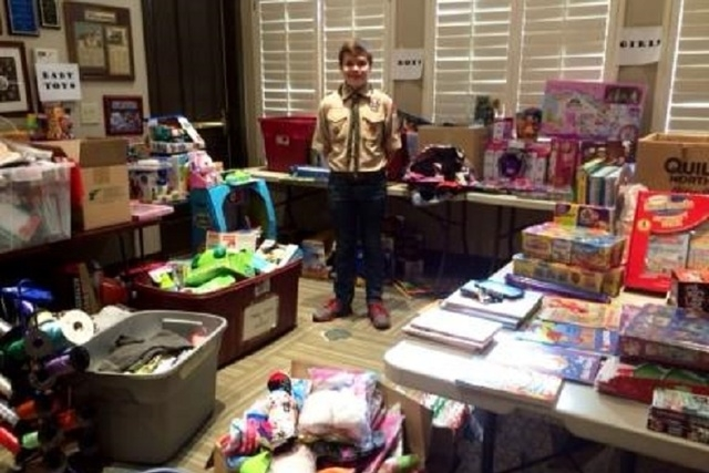 Phillip Bouchard, 13, of Las Vegas, collected 1,500 additional stocking stuffers for children at the Ronald McDonald House Charities of Greater Las Vegas. The Boy Scout raised more than $1,400 dol ...