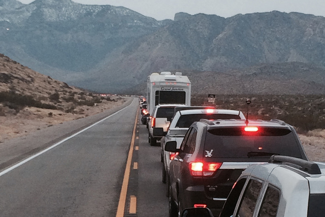 A fatal motorcycle crash near Red Rock Canyon closed State Route 160 on Friday afternoon. (Bizuayehu Tesfaye/Las Vegas Review-Journal)