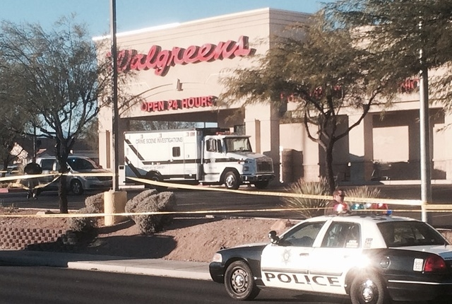 A robber shot and killed an employee at a Walgreens, 8500 W. Cheyenne, near Durango, just after 5 a.m. (Bizuayehu Tesfaye/Las Vegas Review-Journal)