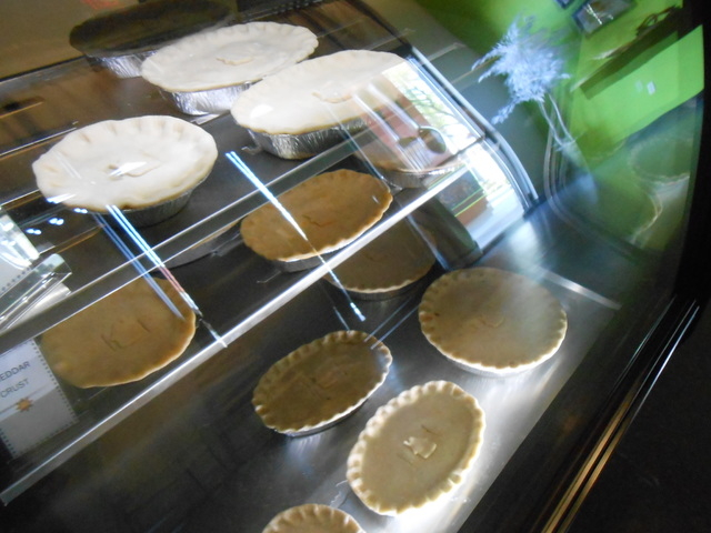 A display case shows off ready-to-take-and-bake chicken pot pies at Pie Me Over. The gourmet pot pies come in three crust types, regular, cheddar and habanero. (Jan Hogan/View)