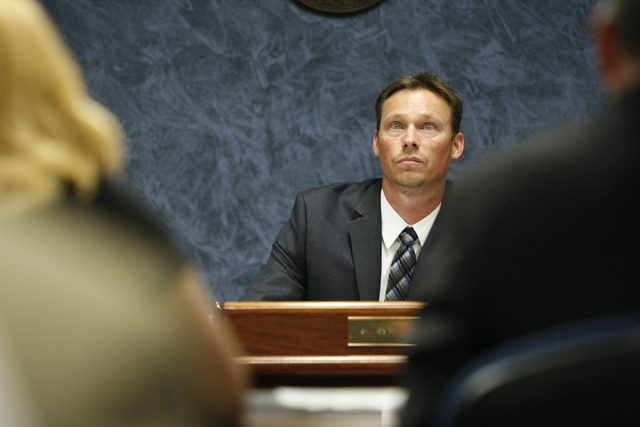 Steve Gilbert, manager of the Medical Marijuana Program with the State of Nevada Division of Public and Behavioral Health, listens to public comments during a Nevada Medical Marijuana Stakeholders ...