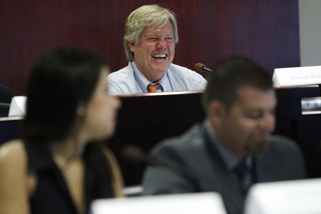 Commission Chairman Sen. Tick Segerblom, D-Las Vegas, listens to testimony during an Advisory Commission on the Administration of Justice's Subcommittee meeting on the medical use of marijuana at  ...