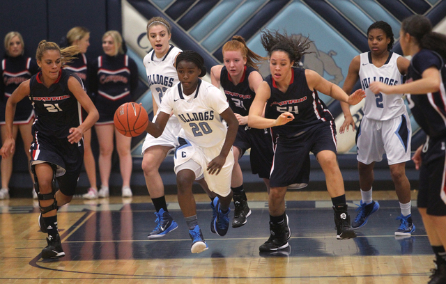 Centennial guard Scotteanna Thomas (20) moves the ball up the court against Coronado in the fourth quarter of a basketball game at Centennial High School in Las Vegas on Wednesday, Dec. 3, 2014. C ...
