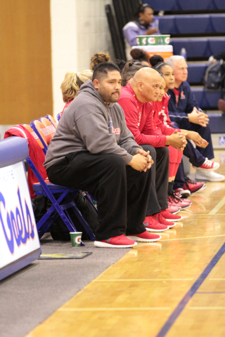 Liberty High School Coaches and Team members look on during second half a basketball game between Liberty High School and Skyline High School, at Bishop Gorman High School in Las Vegas, NV. Friday ...