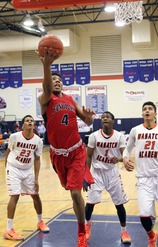 Findlay Prep guard Allonzo Trier (4) goes up for a shot in front of Wasatch Academy's guard/forward Shamiel Stevenson (23), guard Koby McEwen (1) and forward/guard Jackson Rowe (21) in the Tarkani ...