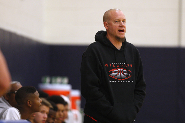 Las Vegas head coach Jason Wilson instructs his players during their game against Orem at the Tarkanian Classic on Thursday. Las Vegas beat Orem, 63-54. (Sam Morris/Las Vegas Review-Journal)