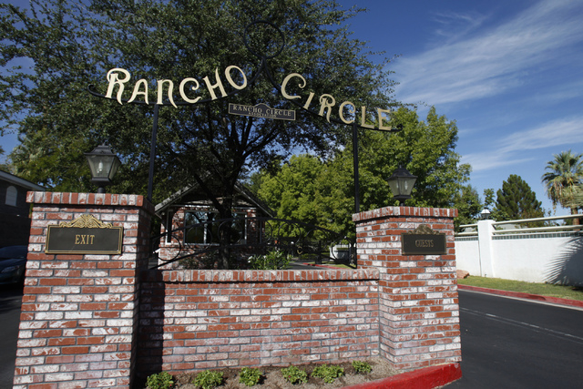The entrance to the gated community Rancho Circle in Las Vegas is seen on Sunday, Sept. 28, 2014. The private community has been populated by rich and famous people for most of its history. (Erik  ...