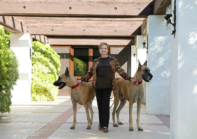 Nancy Houssels stands with her two dogs named Maureen O'Hara, left, and The Duke, right, in her backyard Friday, Oct. 10, 2014, in Las Vegas. Houssels lives in Rancho Circle gated community in a h ...