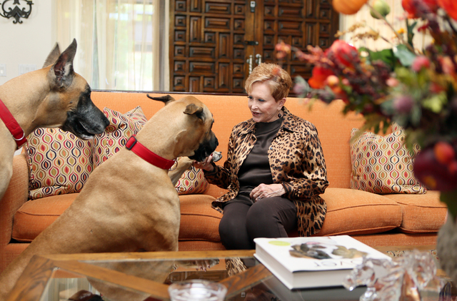 Nancy Houssels tends to her two dogs named The Duke, left, and Maureen O'Hara, center, while sitting in her living room Friday, Oct. 10, 2014, in Las Vegas. Houssels lives in Rancho Circle gated c ...
