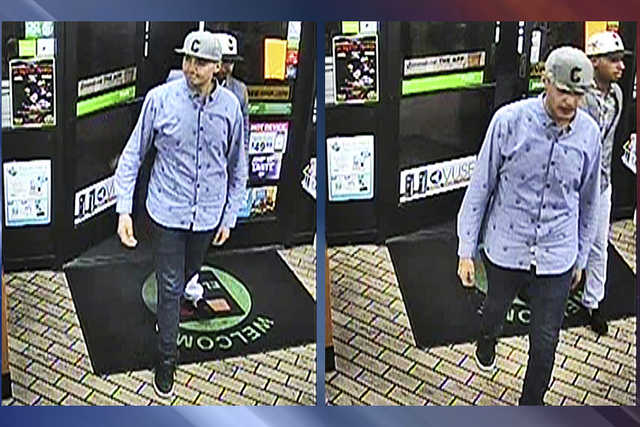 Police released surveillance images of the men they say committed a robbery at a convenience store in the area of Flamingo and Buffalo roads at about 2:20 a.m. Oct. 19. (Courtesy, Las Vegas Metrop ...