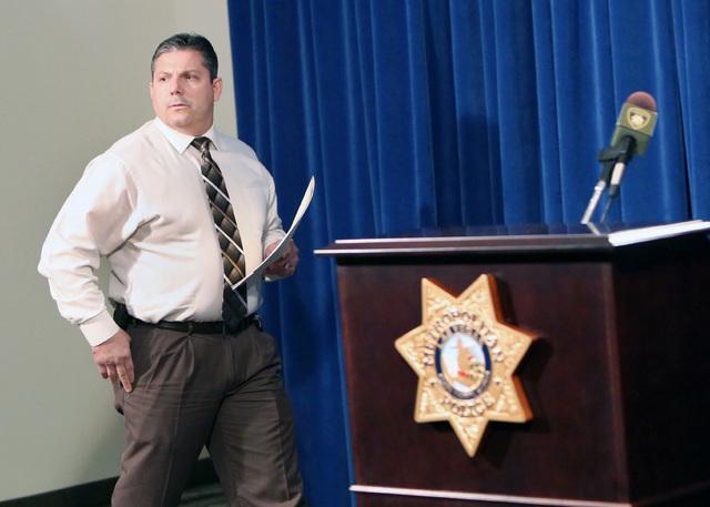 Lt. Ray Steiber prepares to address the media during a press conference on Thursday, Dec. 18, 2014, regarding RTC Shooting on the strip on Dec. 15, 2014. (Bizuayehu Tesfaye/Las Vegas Review-Journal)