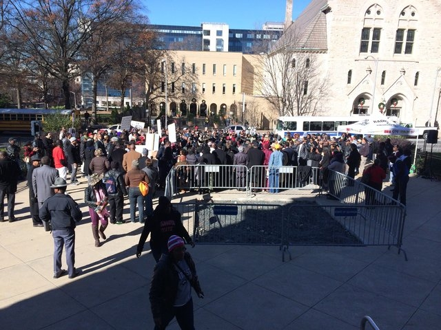 A rally is held at the Georgia State Capitol for Kendrick Johnson on Wednesday, December 11, 2013. (CNN)