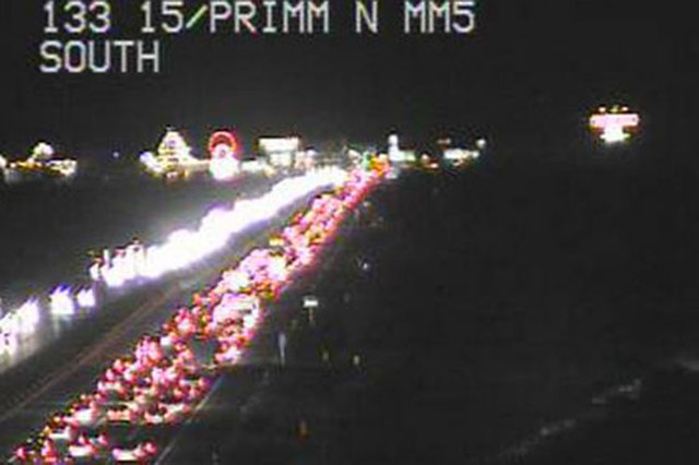 Las Vegas police report that traffic on southbound Interstate 15 heading into California is back up to St. Rose Parkway Sunday evening, Nov. 30, 2014. (Courtesy/RTC, FAST cameras)