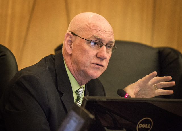 Clark County Commissioner Larry Brown speaks during the commission hearing to name Mark Lipparelli to fill the state Senate District 6 vacancy on Tuesday, Dec. 02, 2014.  The position was open whe ...