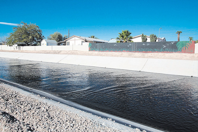 Bugs shouldn't bother North Las Vegas residents living on Sloan Channel anymore. (Samantha Clemens-Kerbs/Las Vegas Review-Journal)