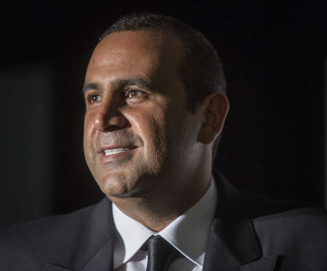 Sam Nazarian, CEO of SBE Entertainment, is shown during the ceremonial ringing of the bell at SLS Las Vegas on Friday, Aug. 22, 2014. (Jeff Scheid/Las Vegas Review-Journal)