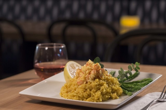 The rock shrimp and asparagus risotto at Jacques Cafe. (courtesy)
