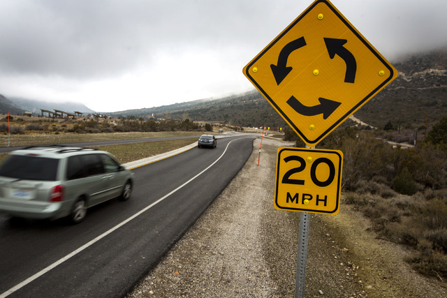 Vehicles enter the roundabout on Route 157 near the National Forest Service visitors center and picnic area  in Kyle Canyon, Friday, Dec. 04, 2014. The redesign road is causing challenges for some ...