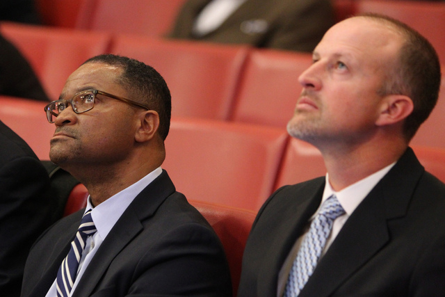 Zed Smith, left, CEO for The Cordish Companies, and Justin Findlay, managing partner of Findlay Sports and Entertainment, during a Las Vegas City Council meeting before a vote for a proposed socce ...