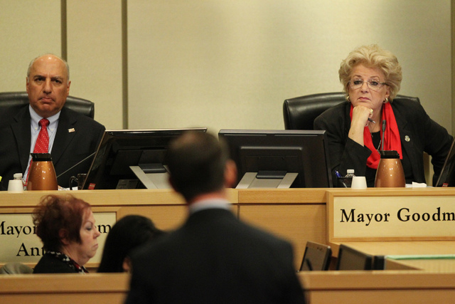 Mayor Pro Tem Stavros Anthony, left, and Las Vegas Mayor Carolyn Goodman, right, listen to Bill Arent, city of Las Vegas economic development chief, as he speaks on a proposed soccer stadium durin ...