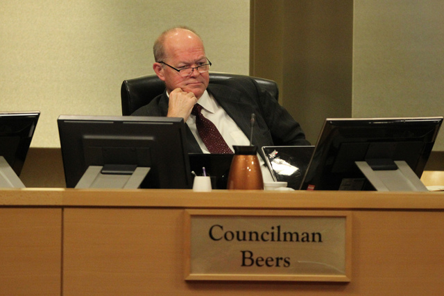 Las Vegas Councilman Bob Beers listens during a Las Vegas City Council meeting before a vote for a proposed soccer stadium at Las Vegas City Hall Council Chambers Wednesday, Dec. 17, 2014. The Cor ...