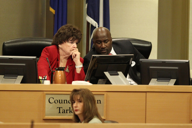 Las Vegas Council members Lois Tarkanian, left, and Ricki Barlow speak during a Las Vegas City Council meeting before a vote for a proposed soccer stadium at Las Vegas City Hall Council Chambers W ...