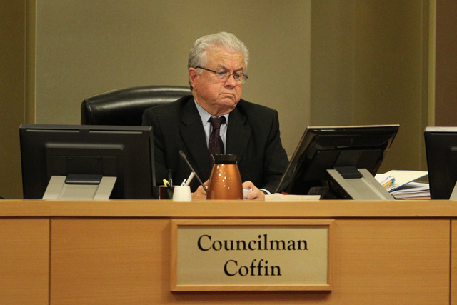 Las Vegas Councilman Bob Coffin listens during a Las Vegas City Council meeting before a vote for a proposed soccer stadium at Las Vegas City Hall Council Chambers Wednesday, Dec. 17, 2014. The Co ...