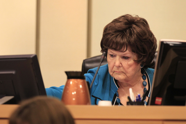 Councilwoman Lois Tarkanian looks at a monitor as a vote approaches on a proposed soccer stadium during a Las Vegas City Council meeting Wednesday, Oct. 1, 2014. (Sam Morris/Las Vegas Review-Journal)