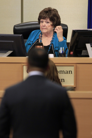 Councilwoman Lois Tarkanian questions Cordish Companies Chief Operating Officer Zed Smith as a vote approaches on a proposed soccer stadium during a Las Vegas City Council meeting Wednesday, Oct.  ...