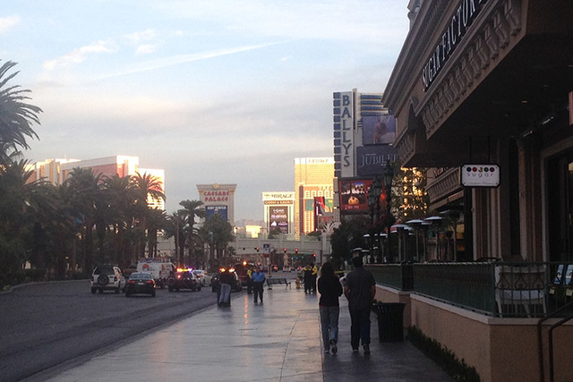 A man is dead after exchanging gunfire with a security guard on the Strip early Monday morning. (Chase Stevens/Las Vegas Review-Journal)