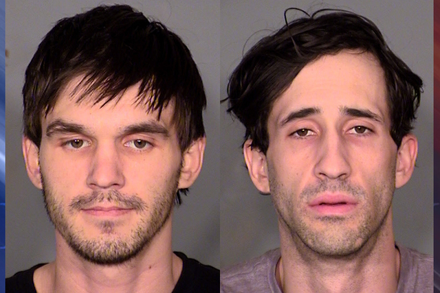 From left, Brock T. Lundahl, 25, and Brent A. Spendlove, 28, were arrested late Tuesday morning after police busted a small marijuana grow operation that was using highly explosive chemicals to ex ...