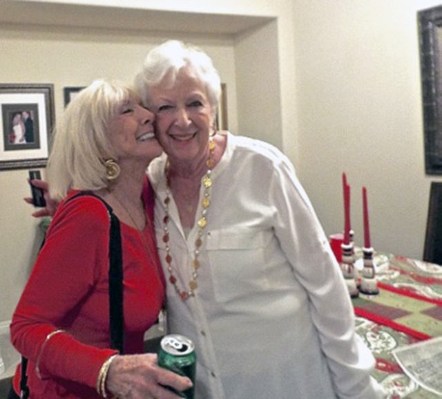 Isabella Mahoney and Marsha Boisjolie prepare to part ways after attending a reunion with friends who grew up on Lorna Place in the 1950s. (Diane Taylor/Special to View)