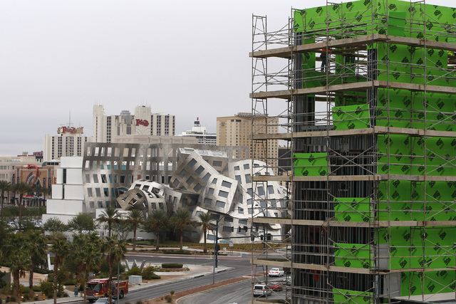 A new addition is seen under construction at the Las Vegas North Premium Outlets mall with Symphony Park and downtown Las Vegas in the background, Wednesday, Dec. 3, 2014. (Sam Morris/Las Vegas Re ...