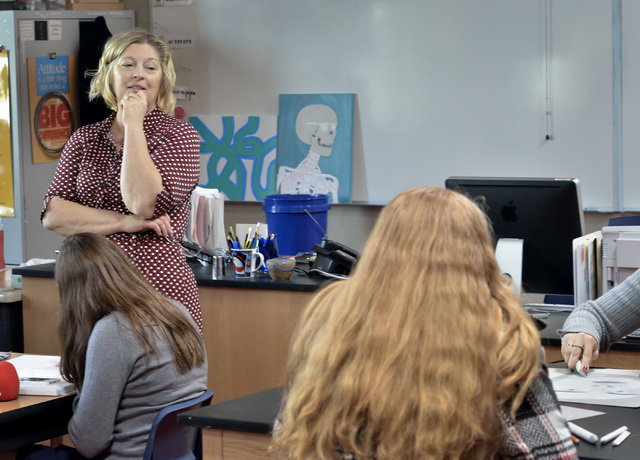Teacher Lisa Hinricksen is shown in her advanced drawing class at West Career and Technical Academy at 11945 W. Charleston Blvd. in Las Vegas on Thursday, Dec. 18, 2014. (Bill Hughes/Las Vegas Rev ...