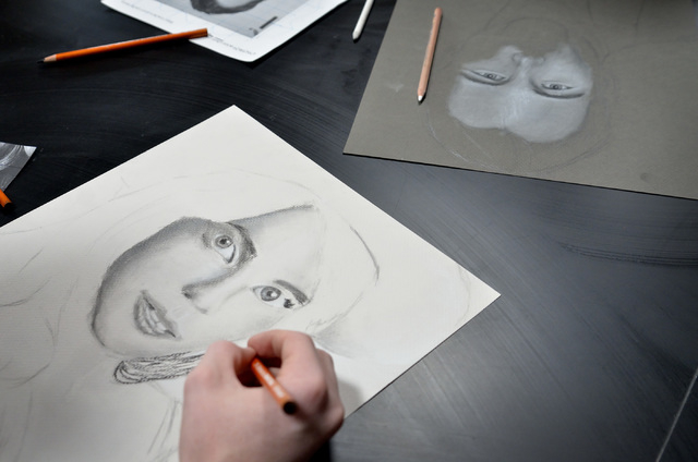 Students work on portraits in Lisa Hinricksen's advanced drawing class at West Career and Technical Academy at 11945 W. Charleston Blvd. in Las Vegas on Thursday, Dec. 18, 2014. (Bill Hughes/Las V ...