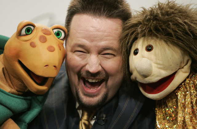 Ventriloquist Terry Fator poses with his Winston the Impersonating Turtle and Emma Taylor puppets while in the dressing room at The Mirage. (Las Vegas Review-Journal file)