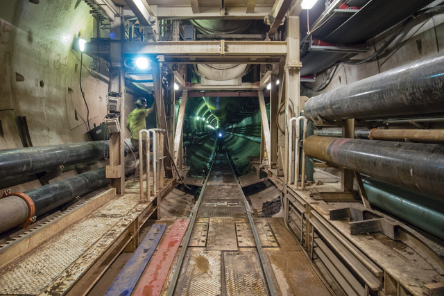 View from the rear of the tunnel bore machine, looking back down three miles of tunnel already constructed at the third intake tunneling project at Lake Mead Tuesday Sept. 16, 2014.  Intake No. 3, ...