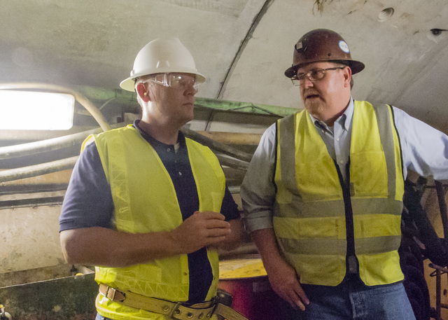 John Entsminger, left, general manager of the Southern Nevada Water Authority, and Jim Nickerson, project manager for Vegas Tunnel Constructors discuss the project during a tour of the third intak ...