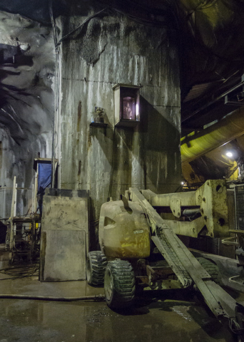 A shrine to St. Barbara, the patron saint of mining, the overlooks the tunnel staging area 600 feet below the surface at the third intake tunneling project at Lake Mead Tuesday Sept. 16, 2014.  In ...