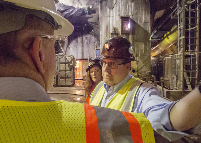Tour of the third intake tunneling project at Lake Mead Tuesday Sept. 16, 2014.  Intake No. 3, as it is officially known, is the Southern Nevada Water Authority's $700 million answer to a mounting ...