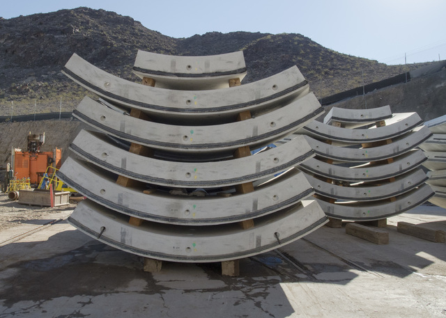 Custom-fabricated concrete tunnel sections wait to be lowered into the third intake tunnel at Lake Mead Tuesday Sept. 16, 2014.  Intake No. 3, as it is officially known, is the Southern Nevada Wat ...
