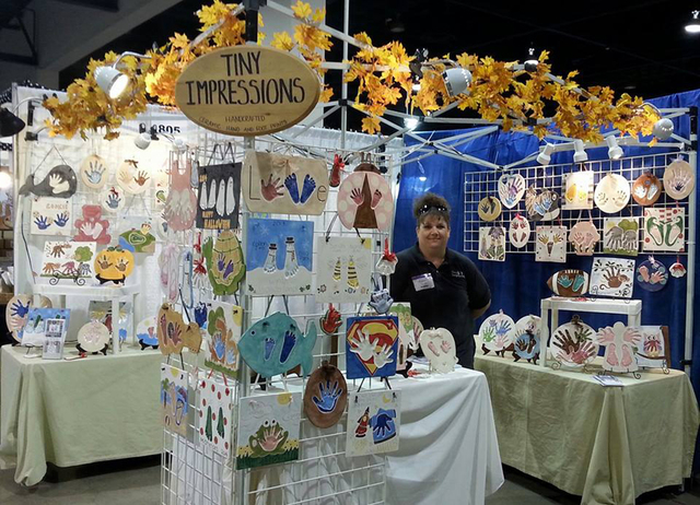 Connie Hallett, owner of Tiny Impressions, poses for a photo at the Harvest Festival inside the Cashman Center, 850 N. Las Vegas Blvd., Sept. 2014. Hallett started her ceramic handprint and footpr ...
