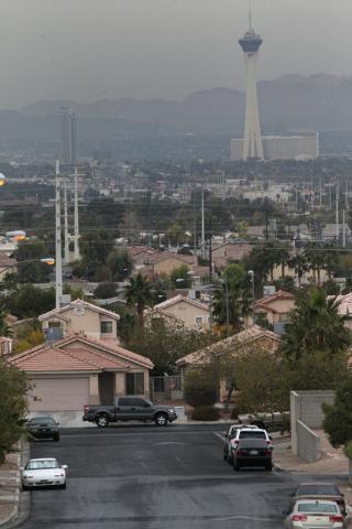 The Strip in Las Vegas is seen from S. Hollywood Boulevard near Las Vegas High School in Las Vegas Tuesday, Dec. 2, 2014. (Erik Verduzco/Las Vegas Review-Journal)